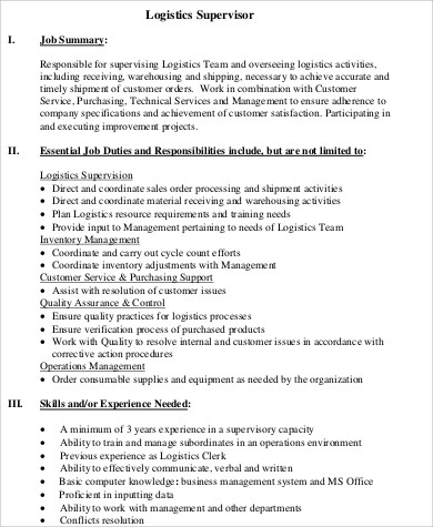Logistics Supervisor Job Description Sample   Examples In Word Pdf
