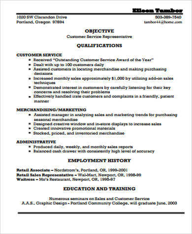 simple resume objective for customer service