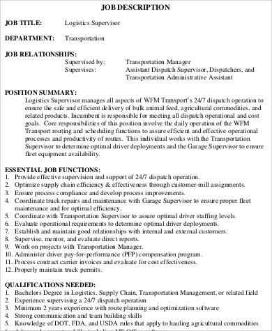 Elegant Logistics Supervisor Job Description Example