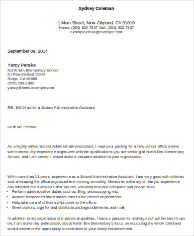 school admin assistant cover letter