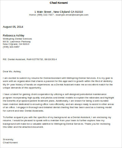 Cover Letter For Dental Assistant - 6+ Examples In Word, Pdf