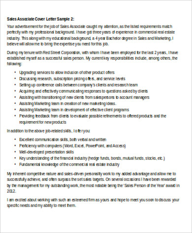 Free 8 Cover Letter For Sales Associate In Ms Word Pdf