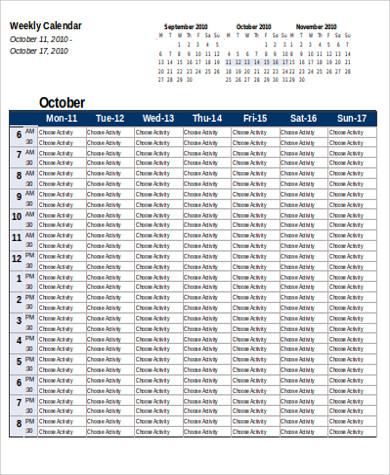 weekly schedule planning calendar in excel