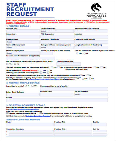 Sample Recruitment Request Form   Examples In Word Pdf