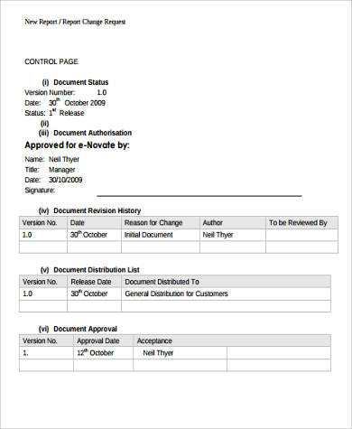 report change request form pdf
