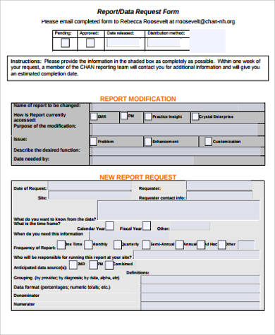 Sample Report Request Form   Examples In Word Pdf