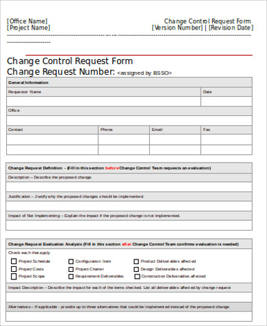 Change Control Request Form Free