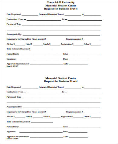 Sample Request Forms | 10 Sample Travel Request Forms Sample Templates