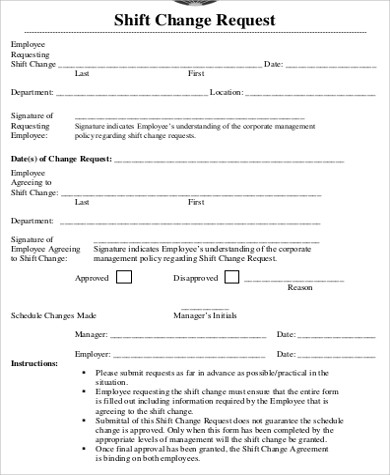 shift change request form