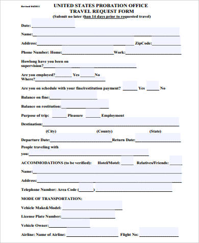 probation travel request form