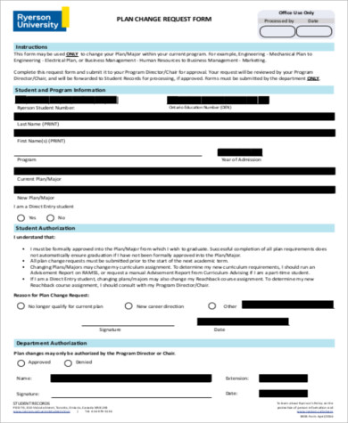 plan change request form