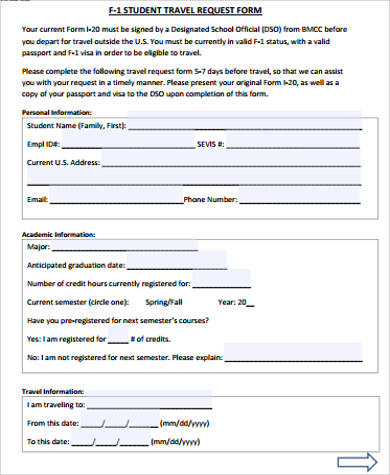 Travel Request Form Student Travel Request Form Example Sample