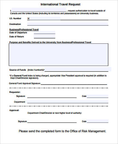 international travel request form