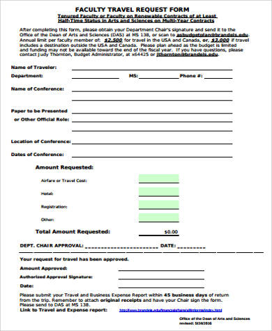 faculty travel request form printable