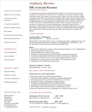 assistant human resource resume