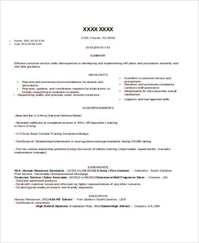 human resource specialist resume example