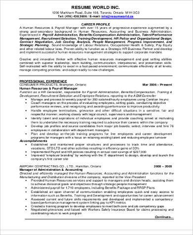 experienced human resource resume