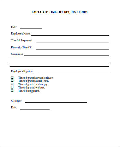 time off request form in word