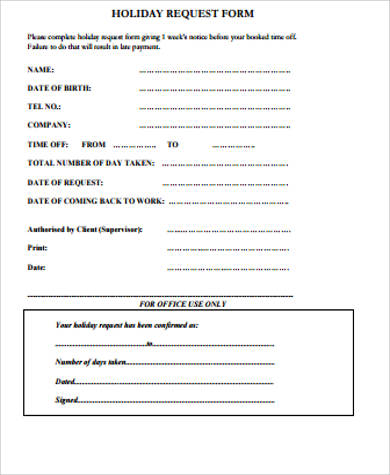 holiday request form example