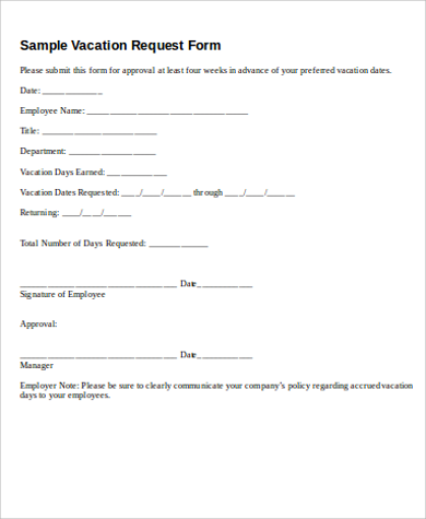 vacation request off form printable