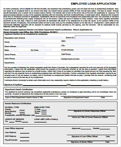 Sample Employee Application Forms Free Sample Example Format