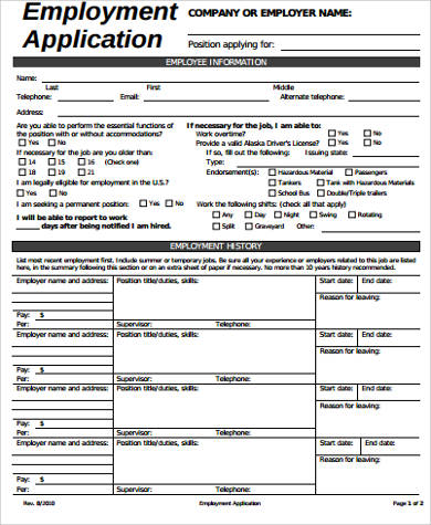6+ Sample Employee Application Forms- Free Sample, Example, Format