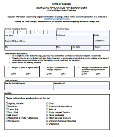 6 sample employee application forms free sample example format