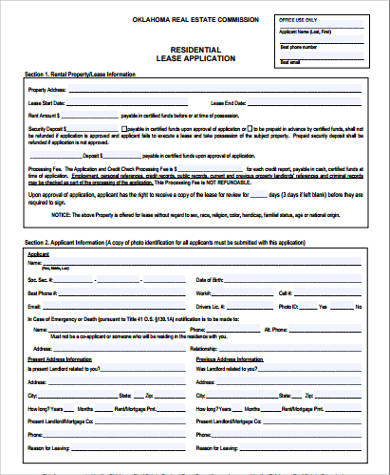 Sample Lease Application  Free Sample Example Format Download