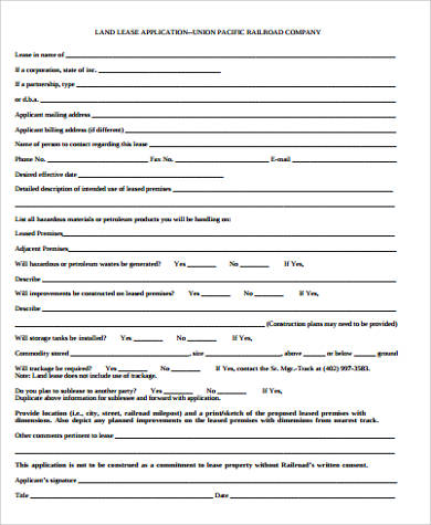 Sample Lease Application  Printable Sample Rental Verification