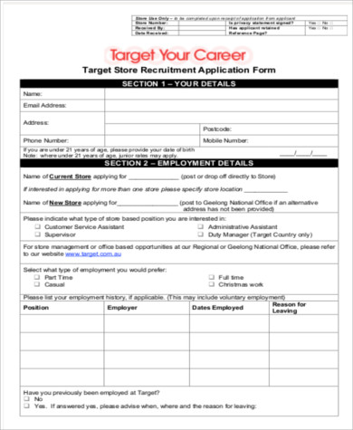 Sample Target Job Application  Free Sample Example Format