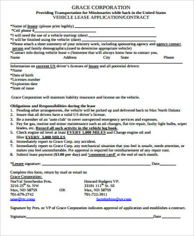 example of vehicle lease application form