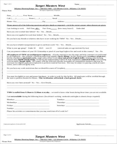 target employment application