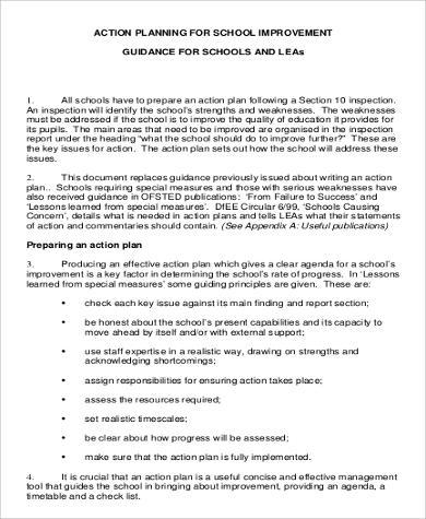 action plan for school improvement