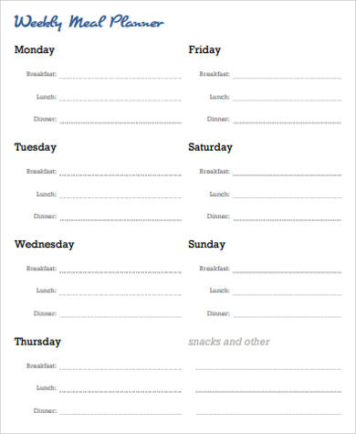 weekly meal planner sample