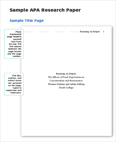 Cover sheet for research paper apa