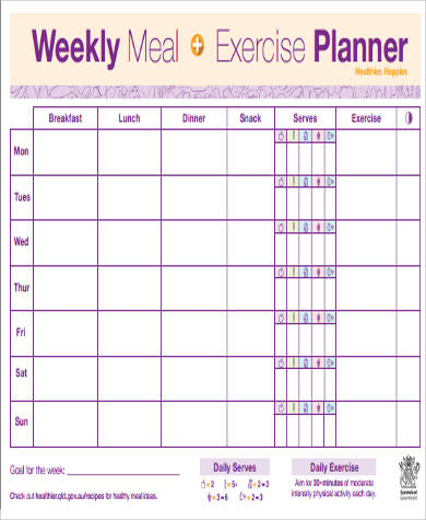 weekly meal exercise planner sample