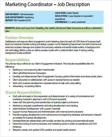 marketing coordinator job description sales supervisor job