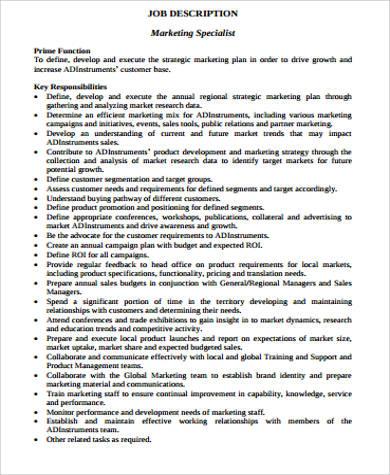 marketing specialist job description - Regional Sales Director Job Description