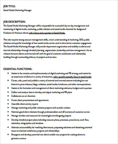Sample Marketing Job Description - 10+ Examples In Word, Pdf