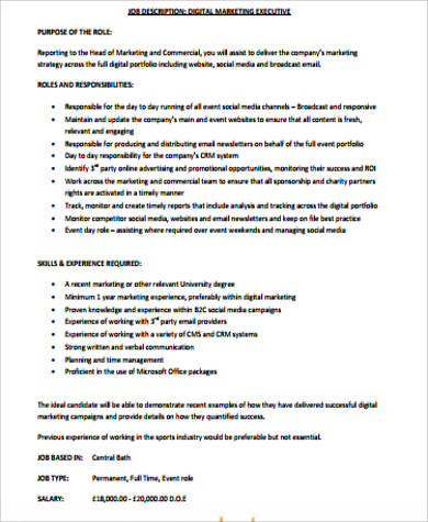 Sample Marketing Job Description   Examples In Word Pdf