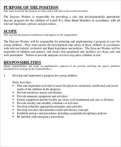 daycare worker job description for resume
