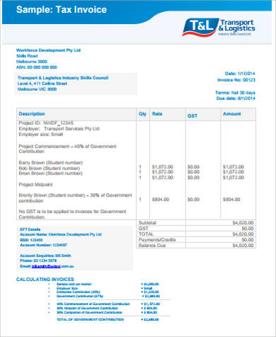 Simple Tax Invoice Example  Simple Invoice Example