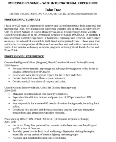Free 9 Sample Police Resume Templates In Ms Word Pdf