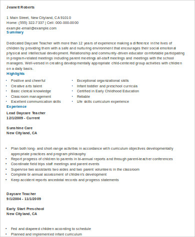 daycare teacher resume format