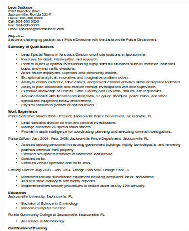 sample police resume 8 examples in word pdf