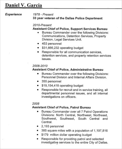 Sample Police Resume   Examples In Word Pdf