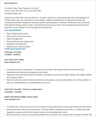 Sample Daycare Resume