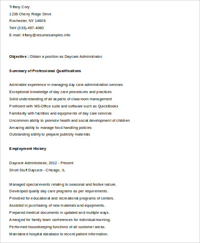 sample daycare administrator resume - Sample Daycare Resume