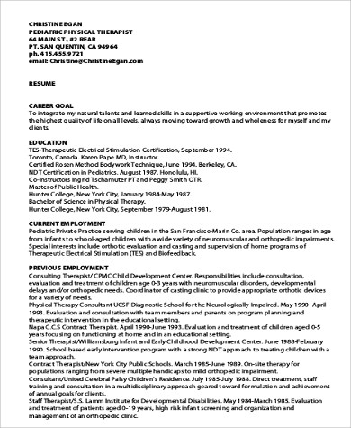 Sample Physical Therapist Resume - 8+ Examples In Word, Pdf