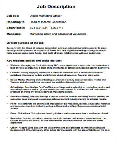 Marketing Officer Job Description Sample   Examples In Word Pdf